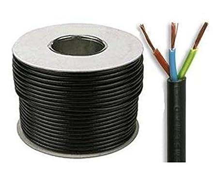 5M Black PVC Flexible Cable Round Flex 3 core 0.75mm 6 Amp 3183Y Wire
