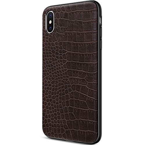 DAUPIN for iPhone Xs Max Case Luxury Defender Protective Shockproof Case Soft PU Leather Crocodile 3D Pattern Design Cover for Men Boy for iPhone Xs Max 6.5 Inch Brown
