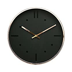 "Arospa Luxury Modern 12"" Silent Non-Ticking Wall Clock with Rose Gold Frame (Scandinavian Black)"