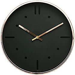 "Luxury Modern 12"" Silent Non-Ticking Wall Clock with Rose Gold Frame (Scandinavian Black)"