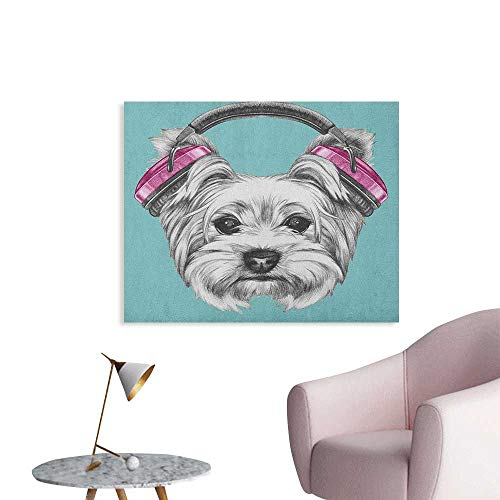 Anzhutwelve Yorkie Wallpaper Dog with Headphones Music Listening Yorkshire Terrier Hand Drawn Caricature Funny Poster Pale Blue White W32 xL24