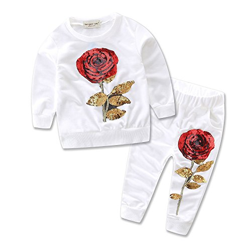 Samgami Baby Black White Sequin Rose Cotton Set Girls Baby Clothes 2pcs Pants Suit Size 3-7Y (Tag:100/2-3Y, White) (Sequins Tags)
