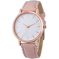 Womens Quartz Watches,COOKI Unique Analog Fashion Clearance Lady Watches Female watches on Sale Casual Watches for Women,Round Dial Case Comfortable PU Leather Watch-H12 (Pink)