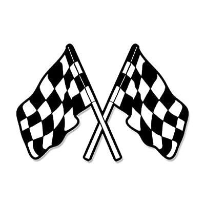 Dual Checkered Flags Shaped Sticker (auto car Racing Win Winner): Arts, Crafts & Sewing