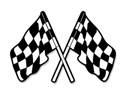 amazon com american vinyl dual checkered flags shaped sticker