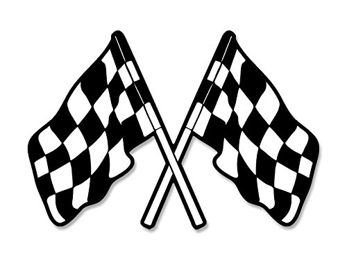 American Vinyl Dual Checkered Flags Shaped Sticker (nascar car Racing Win)