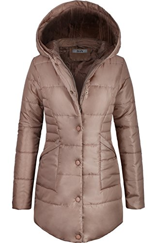 2LUV Women's Warm Padded Puffer Parka with Hood Khaki L (Brown Women Down Coats)