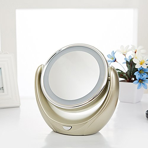 Beauty Mirror Makeup Mirror Vanity Cosmetic Mirrors Shaving Mirror,Desktop Led Makeup Mirror Double-Sided Mirror European-Style 5 Times Magnifying Glass Mirror Wedding Princess Mirror,D,18.5×19.5Cm well-wreapped