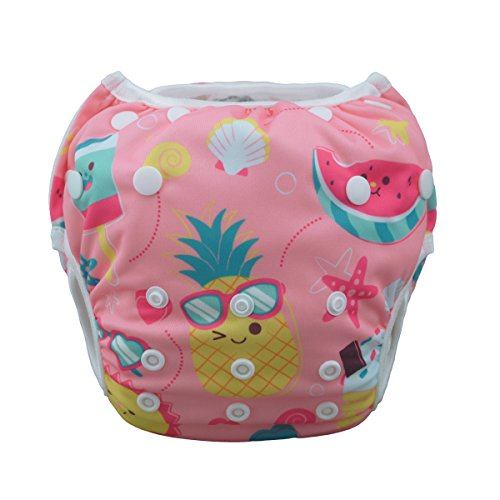(Babygoal Baby Swim Underwear for Swim Lesson, Reuseable Washable Adjustable Swiming Diapers,Baby Girl Swim Diaper,Best Gift for BabySWD39)