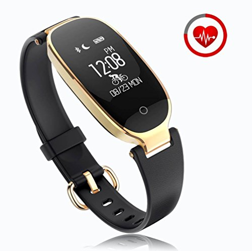 Fitness Tracker for women Activity Watch and Heart Rate Monitor IP67 Waterproof Smart Bracelet with Sleep Monitor Pedometer Calorie Compatible with Android and IOS Smartphone(Black)