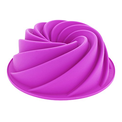 Elbee Holiday Premium Silicone Spiral 6-Cup Bundt Cake Pan - Turn Your Ordinary Cake into Culinary Art