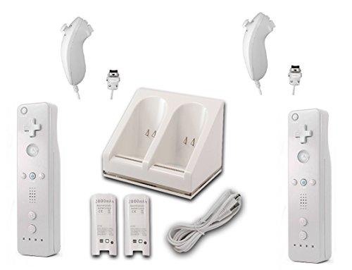 AMGGLOBAL® 2 x Fern 2 x Nunchuk 1x Ladegerät Dockingstation Controller Für Nintendo WII fern WII + KOSTENLOS SILIKON HÜLLE Schwarz Weiß Paket - Weiß