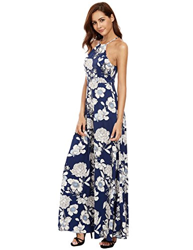 Floerns Women's Sleeveless Halter Neck Vintage Floral Print Maxi Dress, Blue, - Maxi Dress Print