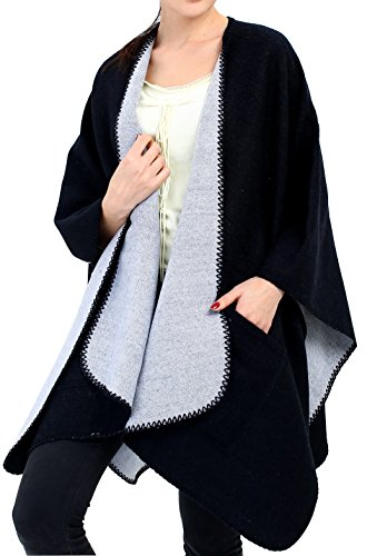 Women Poncho Shawl Blanket Scarf Wrap - Wool Pocket Cape Reversible Black Ruana