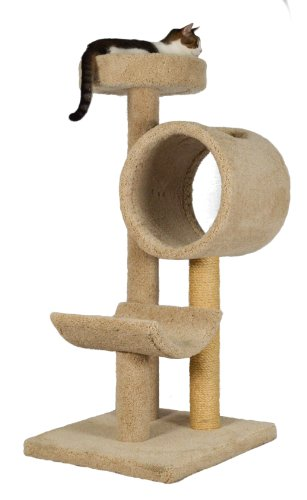 Molly and Friends 'Tunnel of Fun Premium Handmade 3-Tier Cat Tree with Sisal, Model 243, Beige