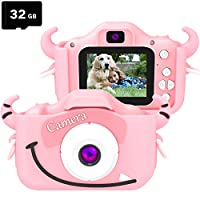 goopow Kids Children Camera, Child Digital Video Mini Camera for Girls with a Cartoon Soft Silicone Cover for Outdoor Play, Toys for Girls 3-8 Years Old, Best Christmas Birthday Gift for Girls (Pink)