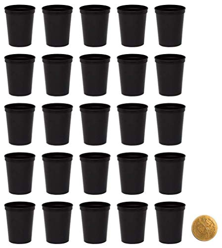 Black Stadium Cups, Pack of 25, Blank 16 oz Plastic -