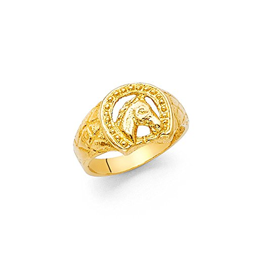 Solid 14k Yellow Gold Kids Horseshoe Horse Head Ring Good Luck Band Diamond Cut Genuine 8MM Size 6