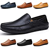 Lapens Men's Driving Shoes Premium Genuine Leather Fashion Slipper Casual Slip On Fashion Sneakers Breathable Mules Sandals Loafers Shoes LPMLFS137-Bl37