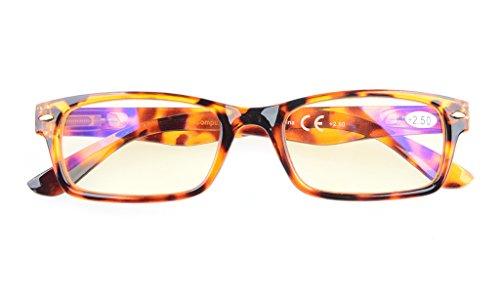 Reduce Eyestrain,Anti Blue Rays,UV Protection Computer Reading Glasses(DEMI,Amber Tinted Lenses) +2.0 ()