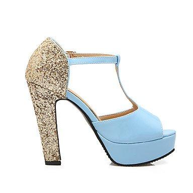 LvYuan Mujer-Tacón Robusto-Zapatos del club-Sandalias-Oficina y Trabajo Vestido Fiesta y Noche-PU-Negro Azul Rosa Pink