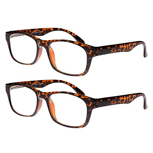 Reading Glasses, Prescription Eyeglasses For Men, Two Pack of Fashion Readers in Tortoise Shell, +350, By OptiPlix (Buy Prescription Glasses Online)