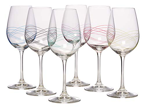 Bezrat Classic Beautifully Designed Stemmed Wine Glasses- Made from 100% Lead-Free Premium Crystal Glass – Red or White Wines- Drinking Goblets Glasses Set Set of 6