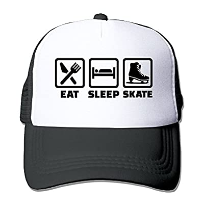 Eat Sleep Ice Skating Men's Women's Adjustable Snapback Hats Hip Hop Caps | Baseball Caps Mesh Back