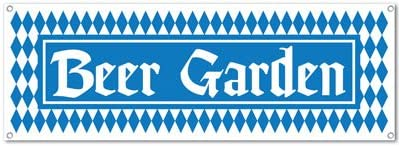 1 count Beer Garden Sign Banner Party Accessory 1//Pkg