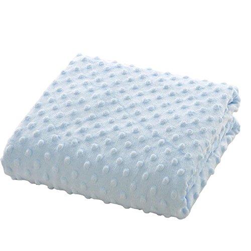 Embossed Blue Dots - Newborn Baby Receiving Blanket Swaddle Blanket in Embossed Dot Minky Fabric (Blue)