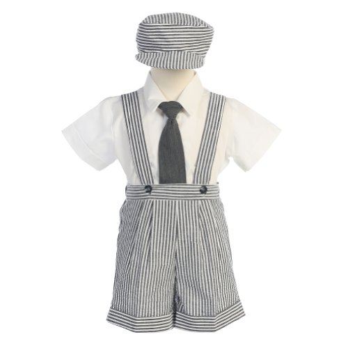 Lito Boys 3T Charcoal Stripe Seersucker Suspender Shorts Outfit