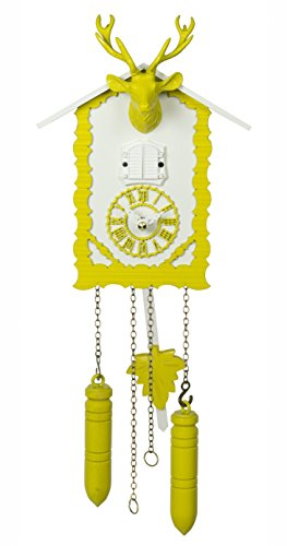 Trenkle Quartz Cuckoo Clock with Music and Deer Head, Yellow TU 360/20 QM Gelb