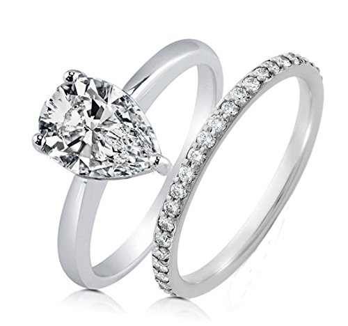 Realistic Simulated Diamond Pear Shaped Ring Band Set 1.5 Carat Solid 925 Silver Platinum Plated RPEARS-50