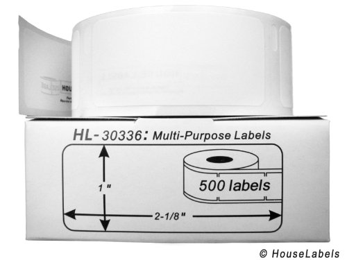 Houselabels 1 x 2-1/8 Inches Dymo-Compatible 30336 Multipurpose Labels, 1 Roll, 500 Labels per Roll