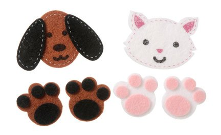 Darice Felties Felt Stickers - Stitched Dogs and Cats - 24 pieces ()