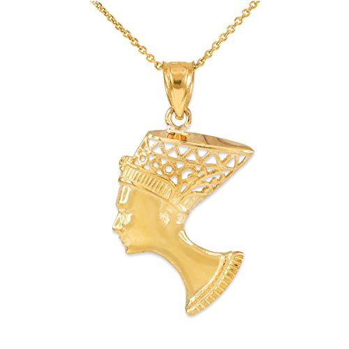 Dainty 14k Yellow Gold Egyptian Queen Nefertiti Filigree Pendant Necklace, 18