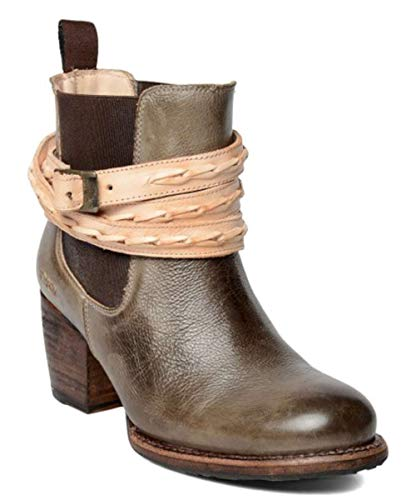 Bed|Stu Womens Lorn Leather Round Toe Ankle Chelsea Boots, Tan, Size 6.5
