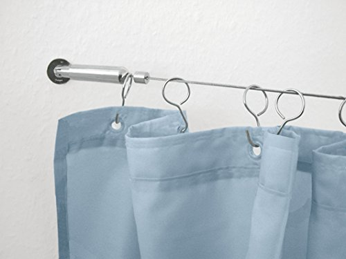 Wire Shower Curtain Rod Kit 196.85in / 500cm– Chrome ()