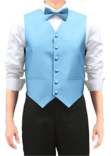 Retreez Men's Solid Color Woven Men's Suit Vest, Dress Vest Set with Matching Tie and Pre-Tied Bow Tie, 3 Pieces Gift Set as a, Birthday Gift - Light Blue, Medium