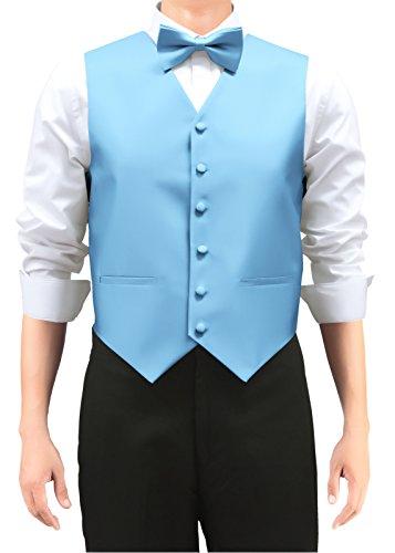 Blue Woven Vest - Retreez Men's Solid Color Woven Men's Suit Vest, Dress Vest Set with Matching Tie and Pre-Tied Bow Tie, 3 Pieces Gift Set as a, Birthday Gift - Light Blue, Medium