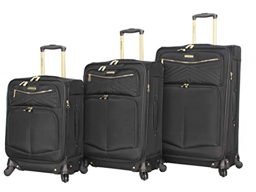 Steve Madden Luggage 3 Piece Softside Spinner Suitcase Set Collection (Rockstar Black, One Size)