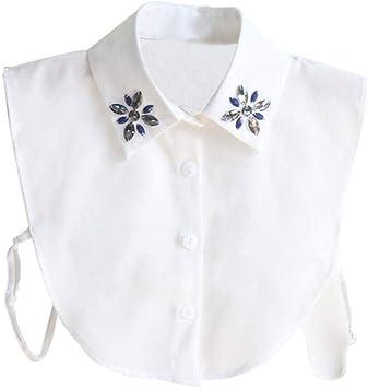 GAOXUQIANG Camisa de Moda Collar Falso para Mujer Corbata Costura de Cristal Collar Desmontable Falso Cuello Blusa de Solapa Top Ropa de Mujer Accesorios,1: Amazon.es: Deportes y aire libre