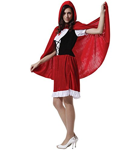 Little Red Riding Hood Halloween Costume Makeup (ZSY Women's Halloween Adult Little Red Riding Hood Cosplay Costume Make Up Party Dress Set For Women)