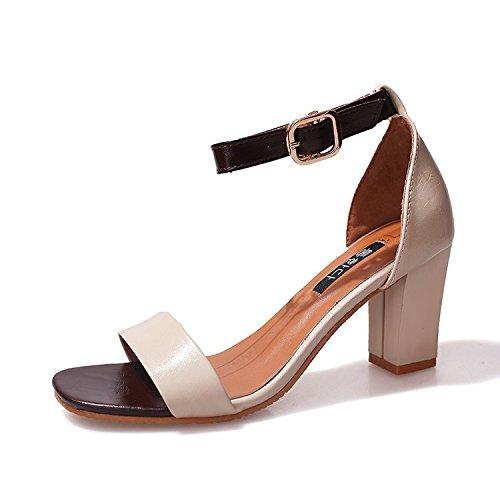 GAOLIM En Sandalias Con Verano Shoes blanco Alto Rocío Toe El Verano Gruesas Ranurados M Heel Para Chica 5rIU5