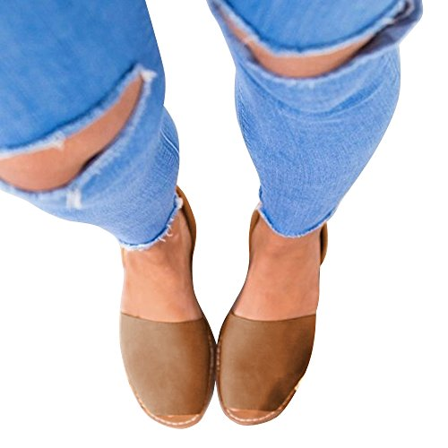 Flat Sandals on Platform Beige SEENFUN Slip Sandals Women's Espadrille Summer xUw4fnBqY