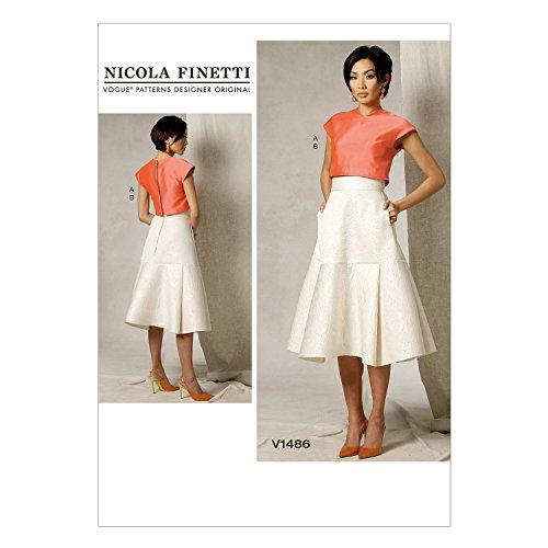 Vogue Patterns V1486 Misses' Crop Top & Flared Yoke Skirt, A5 (Vogue Patterns Tops)