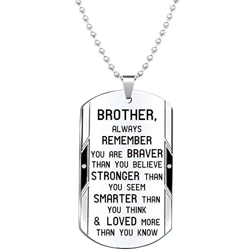 Elegant Chef Brother Inspirational Jewelry Necklace Gift- Always Remember You are Braver Stronger Smarter