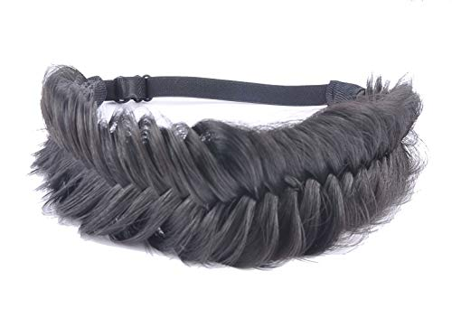 Coolcos Synthetic Hair Braid Headband 1B Natural Black Fishtail Hair Braided Headband for Women- Fluffy Version, with Elastic Band ()