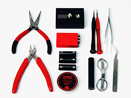 Signstek Werkzeug-Set, Keramikpinzette, Widerstandsmessgerät, Pinzette zum Nadeln, Spannungsprüfer + Schere, für elektronische Zigarette