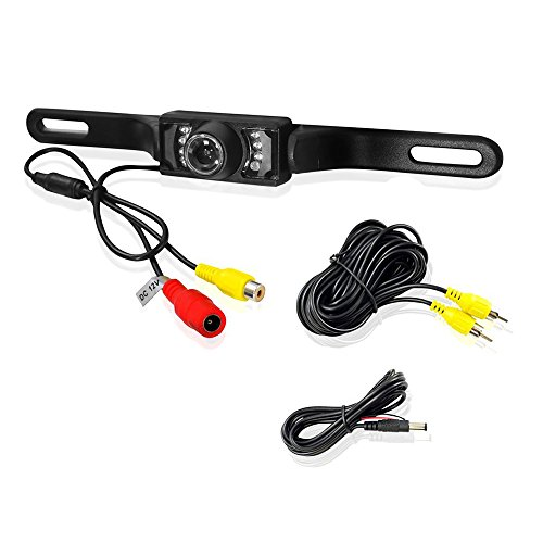 19' Tft Screen (Waterproof HD Night Vision Color 120 Degree Wide Viewing Angle License Plate Car Rear View backup Camera Parking Monitor with 7 IR LED)